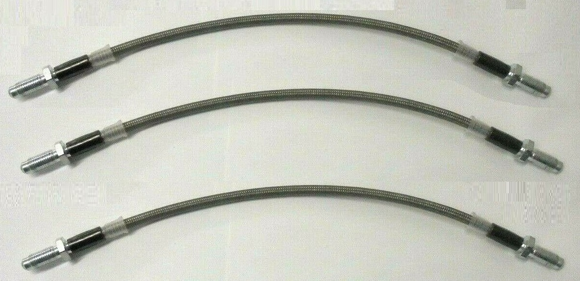 FRONT & REAR BRAKE HOSES (*BRAIDED*) x3 (Ford Escort Mk1) (RS1600, RS1800, RS2000 & Mexico) (1968- 74)