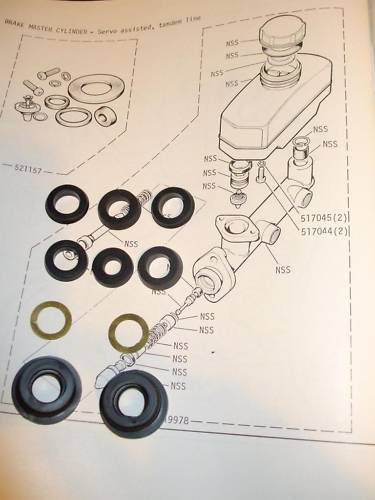 BRAKE MASTER CYLINDER REPAIR SEALS KIT (Triumph Dolomite) (1300 & 1500) (From 1978- 81)