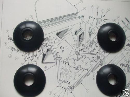 WINDOW WINDER & DOOR HANDLE BEZELS ESCUTCHEONS x4 (Triumph Spitfire & GT6)