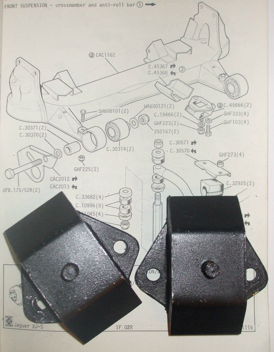 FRONT SUBFRAME (REAR MOUNTS) x2 (Jaguar XJ6 XJ12)  (1968- 93)