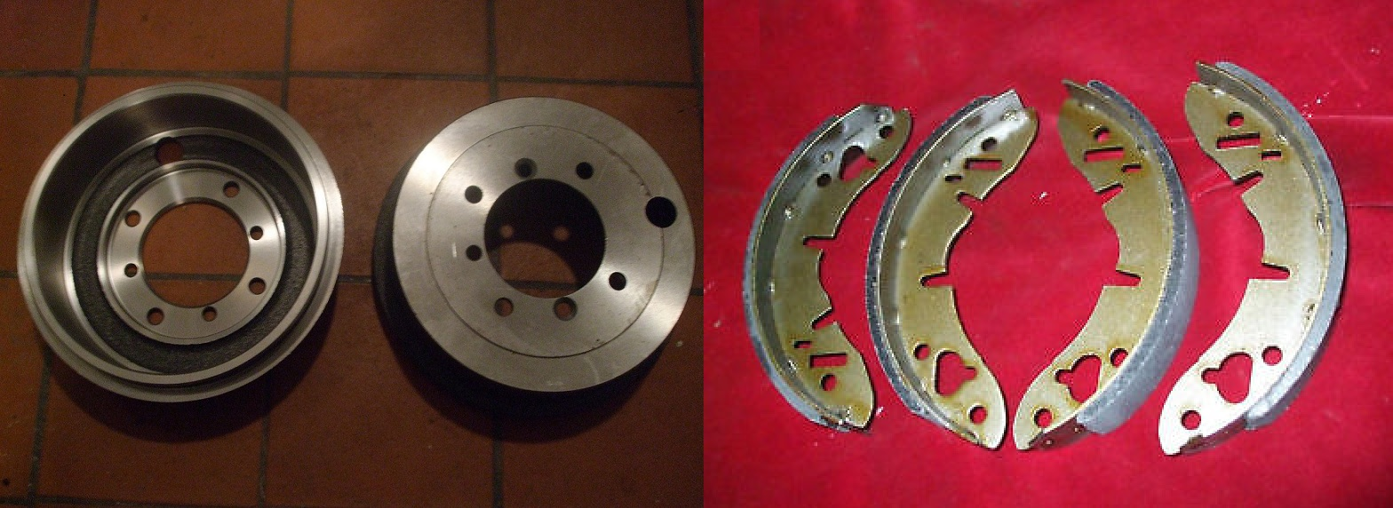 REAR BRAKE DRUMS & SHOES (MG Midget) (** From 1963- 79 **)