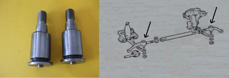 STEERING PIN & BUSH x2 (Jaguar Mk1, Mk2, S-Type & Daimler V8)  (1955- 69)