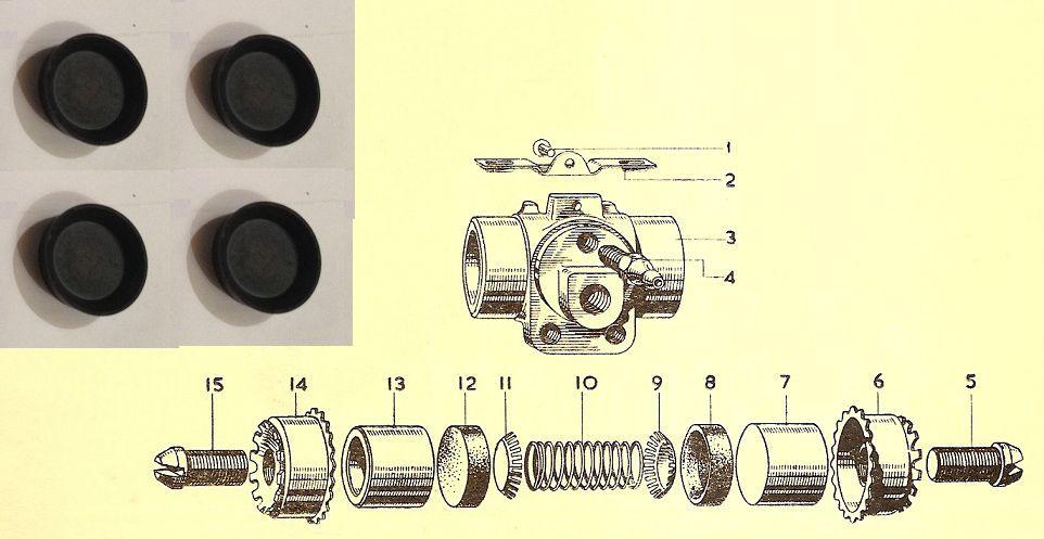 """REAR BRAKE WHEEL CYLINDER REPAIR SEALS KITS x4 (Bedford CA Van) (15/16"""""""") (1952- 1961 Only)"""