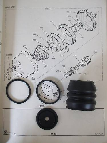 BRAKE SERVO REPAIR SEALS KIT (Triumph 1500 Saloon) (FWD & RWD) (1970- 76)