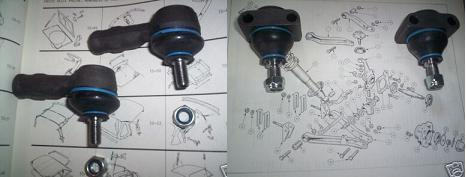 TRACK ROD ENDS & TOP BALL JOINTS x4 (Triumph Herald & Vitesse) (1959- 71)