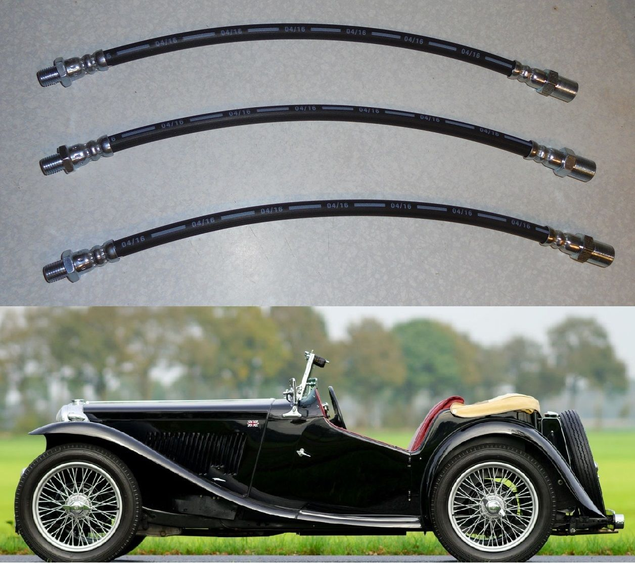 FRONT & REAR BRAKE HOSES x3 (MG TC) (1945- 50)