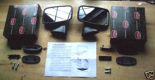 TEX BLACK DOOR MIRRORS x2 (Triumph TR4a TR5 TR6)