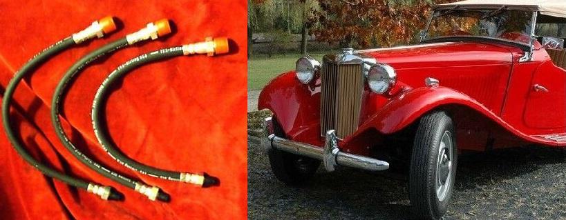 FRONT & REAR BRAKE HOSES x3 (MG TD & TF) (1950- 55)