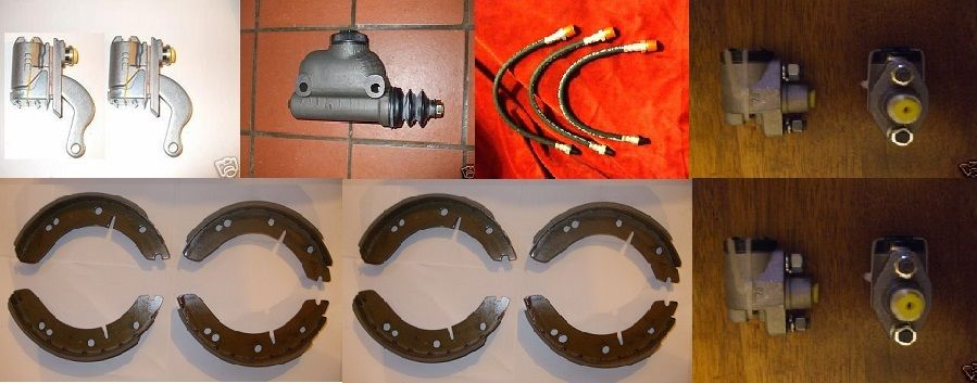 BRAKE MASTER CYLINDER (x1), HOSES (x3), WHEEL CYLINDERS (x6), SHOES (x2 SETS)  (MG TD & TF)  (1950- 55)