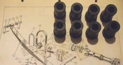 SHACKLE BUSHES for REAR SPRING x8 (Triumph TR2, TR3 & TR4)