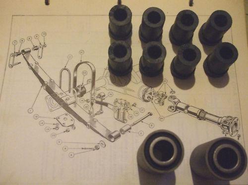 SPRING EYE BUSHES & SHACKLE BUSHES for REAR SPRING x10 (Triumph TR2, TR3 & TR4)