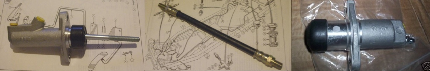 CLUTCH MASTER CYLINDER, SLAVE CYLINDER & HOSE (Triumph TR3 TR3a TR3b) (**From TS13046**) (From 1957- 62)