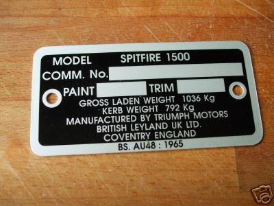 CHASSIS COMMISSION VIN PLATE (Triumph Spitfire 1500) (1974- 81)