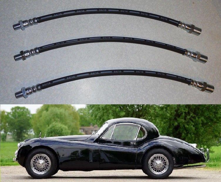 FRONT & REAR BRAKE HOSES x3 (Jaguar XK120 & XK140) (1948- 57)