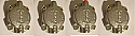 FRONT BRAKE CALIPER PISTONS & CYLINDER ASSEMBLIES x4 (Jaguar Mk1 Saloon) (**With Square Pads **) (1955- 59)