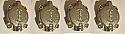 FRONT BRAKE CALIPER PISTONS & CYLINDER ASSEMBLIES x4 (Jaguar XK150) (1958- 61)