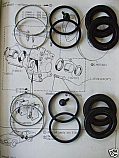 REAR BRAKE CALIPER REPAIR SEALS KITS x2 (Jaguar E Type) (Ser. II & III) (1968- 74)
