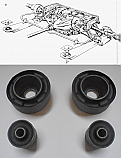 REAR RADIUS ARM BUSHES x4 (Jaguar E Type, XKE) (1961- 74)