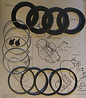 FRONT BRAKE CALIPER REPAIR SEALS KITS x2 (Austin Healey 3000 Mk3) (** 16PB **)   (1964- 68)