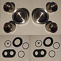FRONT BRAKE CALIPER PISTONS & SEALS x6 (Fiat 1500L, 1500, 1500S, 1800B, 1800 & 2300) (Jul 1962- 69)