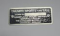 CHASSIS COMMISSION VIN PLATE (Triumph TR4) (1961- 65)