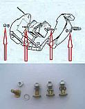 HANDBRAKE PAD FITTING SCREWS BOLTS KIT (Rover 2000 P6) (1963- 66)