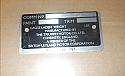 CHASSIS COMMISSION VIN PLATE (Triumph Spitfire Mk3, MkIV & GT6)